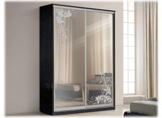 Шкаф-купе 2-х дверный с зеркалами (пескоструй)